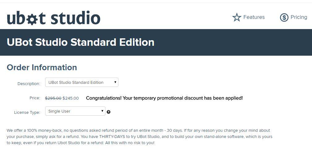 Ubot Studio Coupon 17% OFF Standard Edition